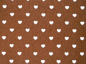 Acrylic Patterned Felt Sheet - Hearts - Brown