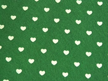 Acrylic Patterned Felt Sheet - Hearts - Green