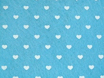 Acrylic Patterned Felt Sheet - Hearts - Light Blue
