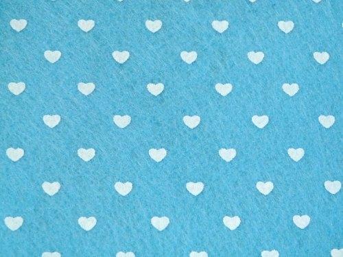 Patterned Felt - Hearts - Sheet - Light Blue