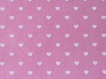 Acrylic Patterned Felt Sheet - Hearts - Light Pink