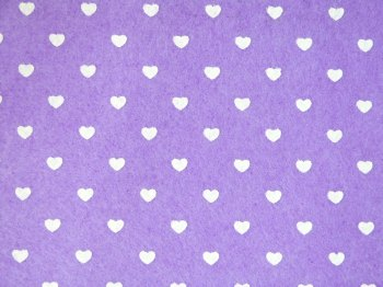 Acrylic Patterned Felt Sheet - Hearts - Lilac