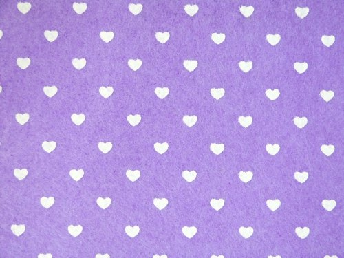 Patterned Felt - Hearts - Sheet - Lilac