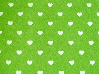 Acrylic Patterned Felt Sheet - Hearts - Lime Green