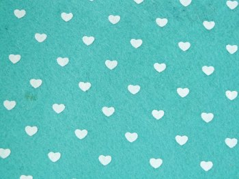 Acrylic Patterned Felt Sheet - Hearts - Mint