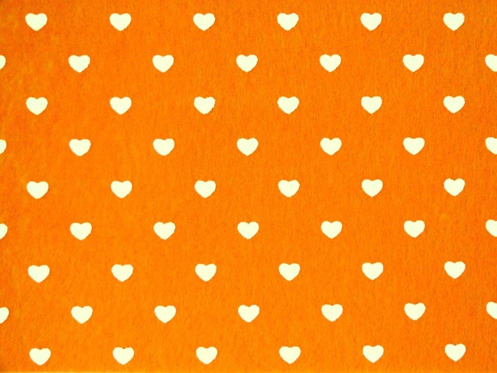 Patterned Felt - Hearts - Sheet - Orange