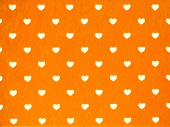 Acrylic Patterned Felt Sheet - Hearts - Orange