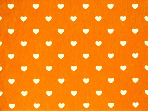 Patterned Felt - Hearts - Sheet - Orange