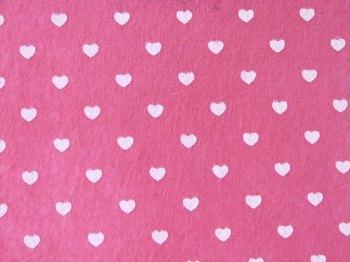 Acrylic Patterned Felt Sheet - Hearts - Pink