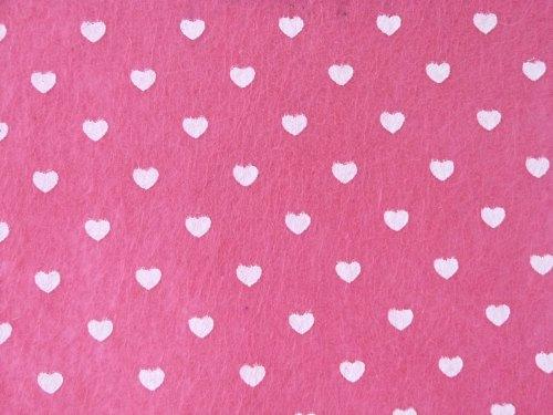 Patterned Felt - Hearts - Sheet - Pink