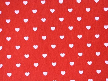 Acrylic Patterned Felt Sheet - Hearts - Red