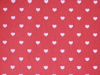 Acrylic Patterned Felt Sheet - Hearts - Rose