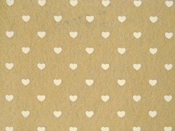 Acrylic Patterned Felt Sheet - Hearts - Taupe