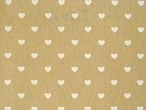 Patterned Felt - Hearts - Sheet - Taupe