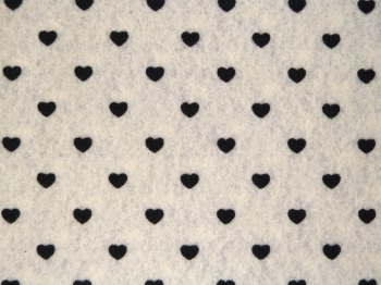 Acrylic Patterned Felt Sheet - Hearts - Natural