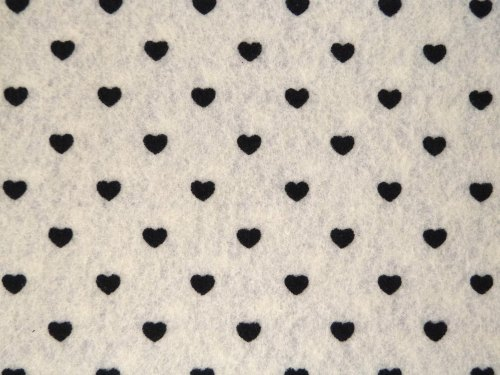Patterned Felt - Hearts - Sheet - White