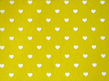 Acrylic Patterned Felt Sheet - Hearts - Yellow
