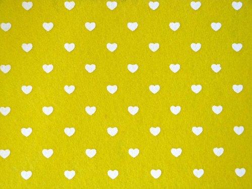 Patterned Felt - Hearts - Sheet - Yellow