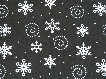 Acrylic Patterned Felt Sheet - Snowflakes - Black