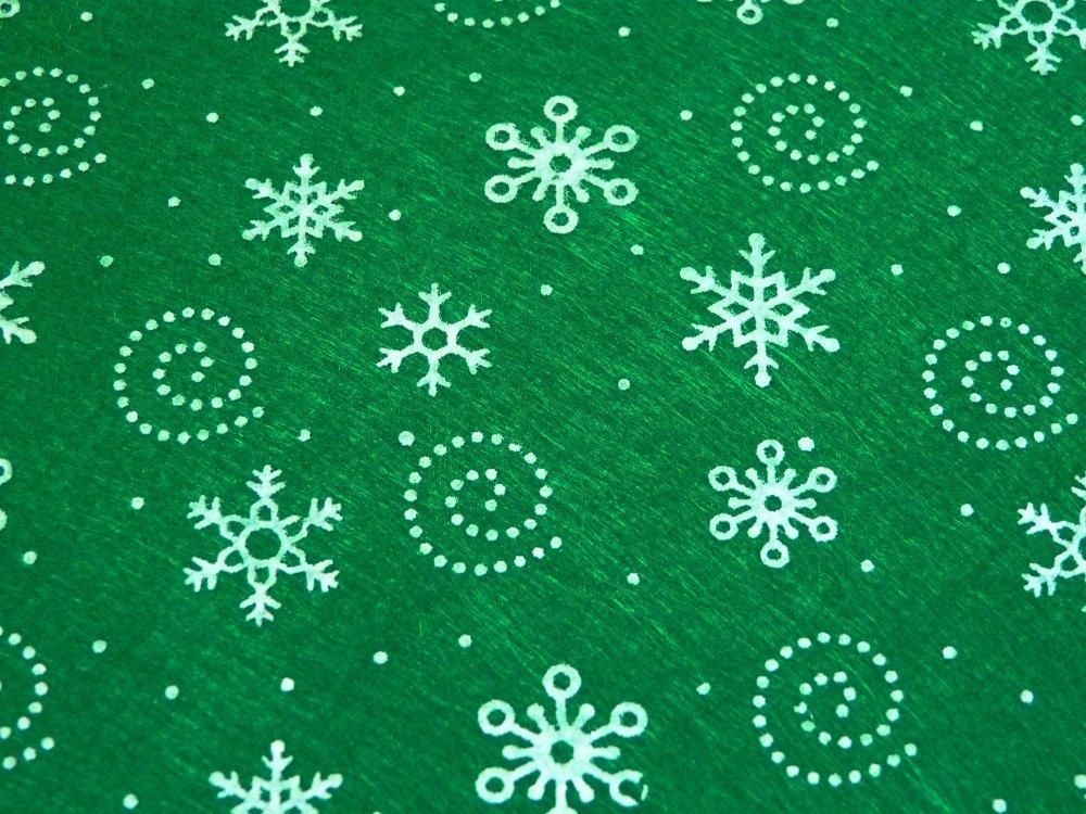 Patterned Felt - Snowflakes - Sheet - Green
