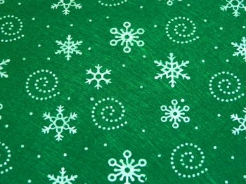 Acrylic Patterned Felt Sheet - Snowflakes - Forest Green