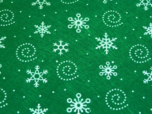Patterned Felt - Snowflakes - Sheet - Green