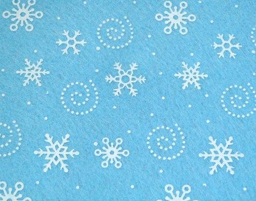 Patterned Felt - Snowflakes - Sheet - Light Blue