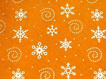 Acrylic Patterned Felt Sheet - Snowflakes - Orange