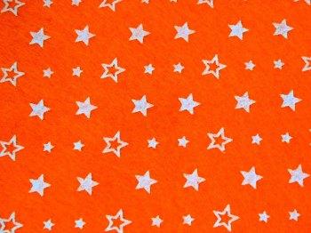Acrylic Patterned Felt Sheet - Stars - Bright Orange