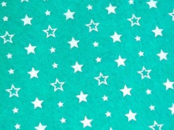 Acrylic Patterned Felt Sheet - Stars - Mint