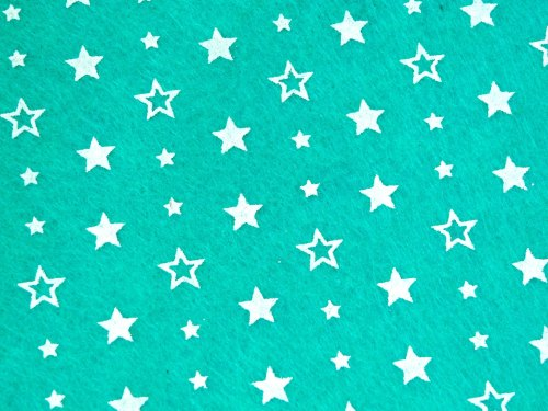 Patterned Felt - Stars - Sheet - Mint