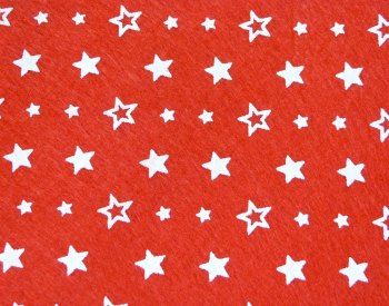 Acrylic Patterned Felt Sheet - Stars - Red