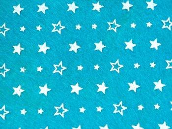 Acrylic Patterned Felt Sheet - Stars - Teal