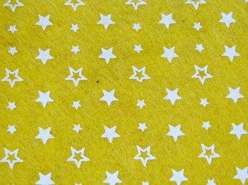 Acrylic Patterned Felt Sheet - Stars - Yellow