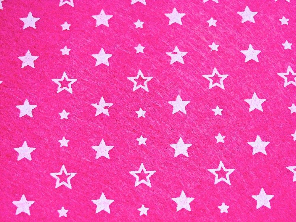 Patterned Felt - Stars - Sheet - Bright Pink