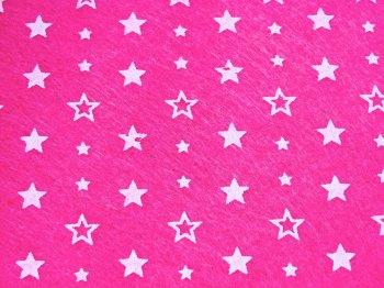 Acrylic Patterned Felt Sheet - Stars - Bright Pink