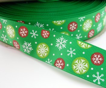 25mm Multi Snowflake Grosgrain Ribbon - Green