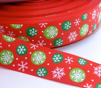 25mm Multi Snowflake Grosgrain Ribbon - Red