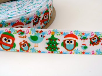 SALE 22mm Christmas Cute Owl Ribbon