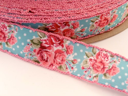 25mm Crochet Edge Mini Polka Dot Roses Ribbon