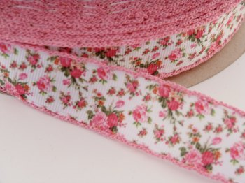 25mm Crochet Edge Mini Roses Ribbon