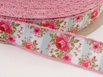 25mm Crochet Edge Roses Stripes Ribbon