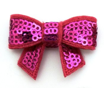 SALE Mini Sequin Bow - Fuchsia
