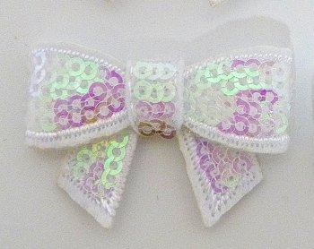 SALE Mini Sequin Bow - White
