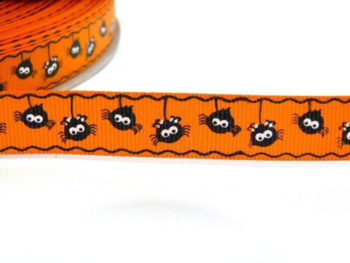 16mm Halloween Hanging Spider Ribbon - Orange