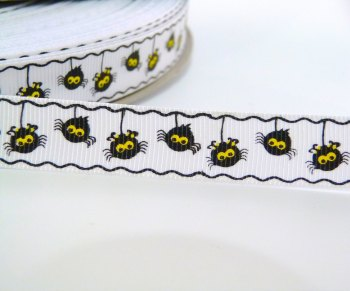 16mm Halloween Hanging Spider Ribbon - White