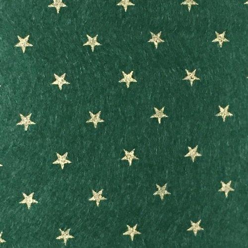 Wool Blend Felt - Gold Star - Sheet - Forest Green