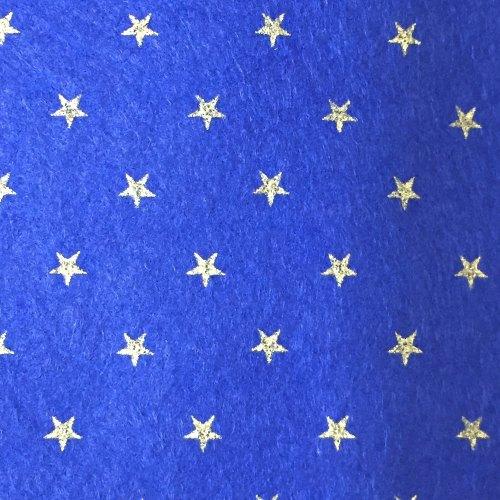 Wool Blend Felt - Gold Star - Sheet - Navy Blue