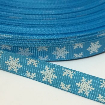 SALE 10mm Snowflake Grosgrain Ribbon - Blue