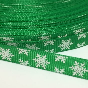 10mm Snowflake Grosgrain Ribbon - Green